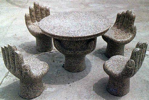 加工定制精美造型石雕茶几 石桌子 抽象石雕桌椅