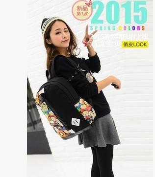 东莞贝森手袋生产厂家 新款玫瑰双肩背包 帆布包 学生书包