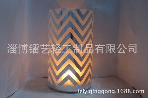 真空电镀、激光镭射雕刻玻璃烛台