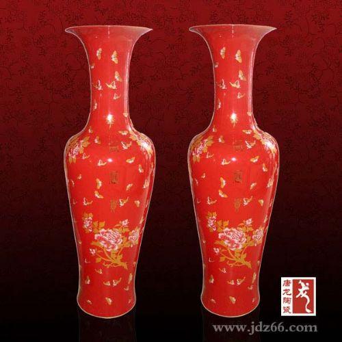 红釉大花瓶,景德镇中国红大花瓶