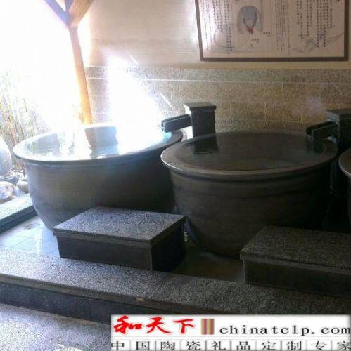 景德镇瓷器陶瓷鱼缸 90CM-1米大缸 酒店青花瓷锦鲤鱼缸 山川