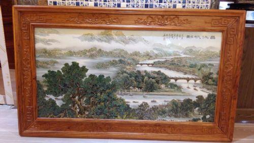 艺术背景墙瓷板画 山水手绘大师名作瓷板画