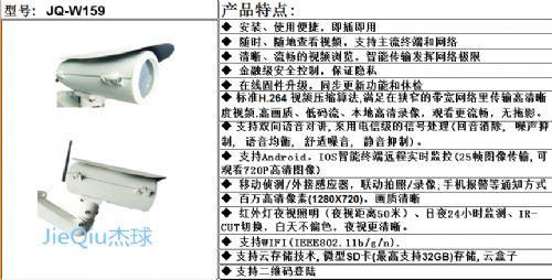 JQ-W159杰球百万高清无线网络云摄像机