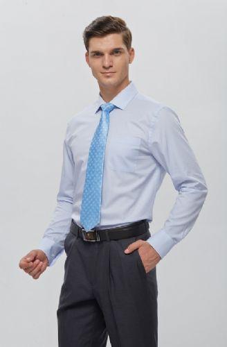 拉雅网-浅蓝提花高支纱CVC经典领衬衫定制