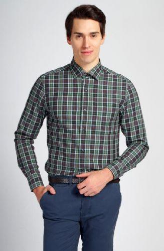 拉雅网-绿色灰格纯棉磨毛八字领衬衫定制-男士衬衣