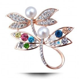 精致双蜻蜓胸针 镶钻女士珍珠胸花 韩版高贵胸花批发一件代发