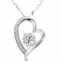 爆款 锆石项链 女款 高档饰品 礼品定做批发 心形钻石吊坠项链