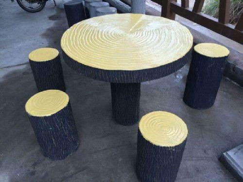 园林小品水泥艺术仿木桌凳图片价格