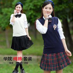 圣浪服饰供应中学校服长袖衬衣套装定做