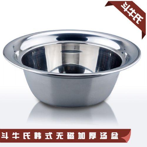 潮州工厂直销优质不锈钢汤盆 加厚无磁韩式汤盆 高档宽边汤碗