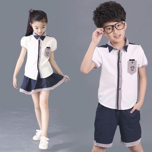小学校服短袖衬衣制服套装定做