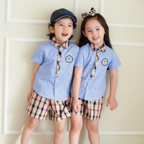 幼儿园园服短袖衬衣制服套装定做