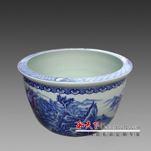 景德镇陶瓷鱼缸手绘山水画金鱼鱼缸 睡莲缸