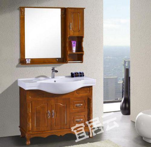 宜居云卫浴家具 YJ818橡木浴室柜 落地欧式橡木卫浴柜可定制
