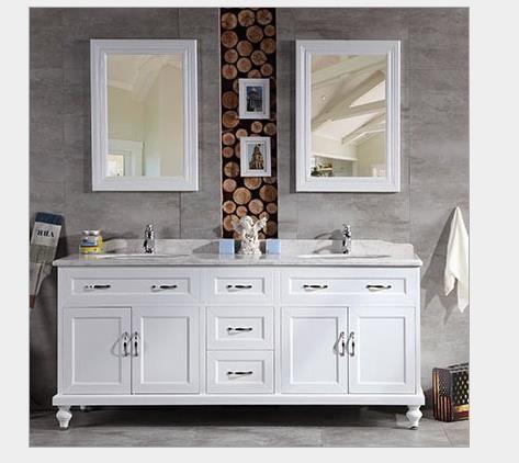 实木落地卫浴柜洗脸盆组合美式浴室柜橡木卫生间洗漱台简约双面盆
