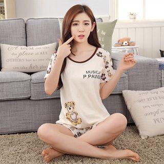 纯棉短袖短裤女式睡衣试用