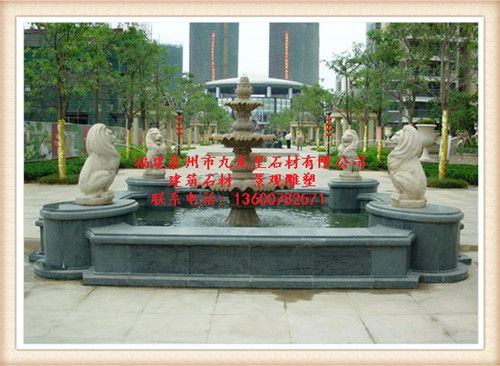 石雕喷泉 流水喷泉酒店门口水景石雕摆件