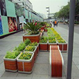 PVC隔离带花箱,塑木花箱,防腐木花箱山东