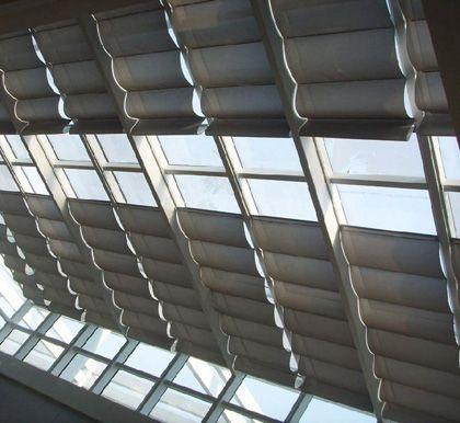 电动轨道折叠式天棚帘 阳光房遮阳帘 双轨折叠天棚帘